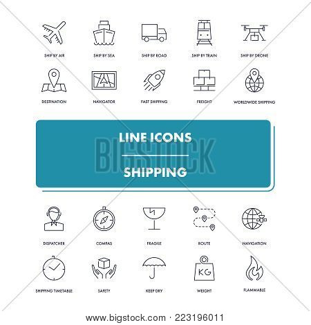 Line icons set. Shipping pack. Vector illustration for logistics service