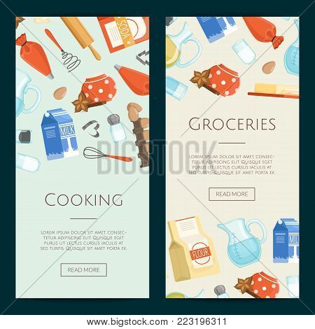 Vector cooking ingridients or groceries vertical banner templates. Grocery and cooking, ingridients fresh poster illustration