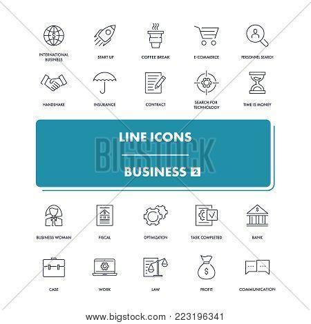 Line icons set. Business 2 pack. Vector illustration for  realisation ideas, start up, making money and teamwork