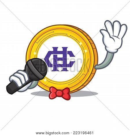 Singing Hshare coin mascot cartoon vector illustration