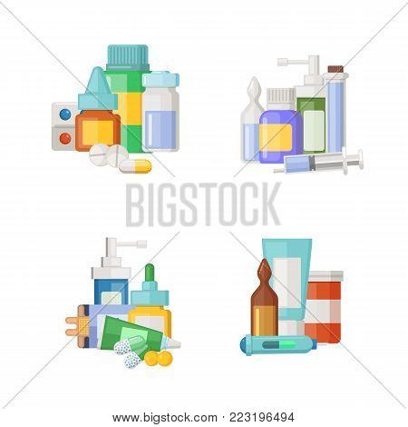 Vector cartoon medicines, potions and pills piles set. Medical drug for health, medicine pharmacy pills illustration