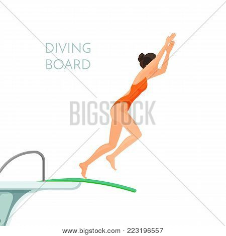 Plastic high diving board and young sportive girl in red swimsuit jumps from it isolated cartoon flat vector illustration with sign on white background.