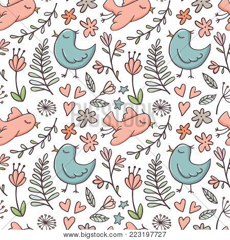 Cute doodle style seamless pattern with birds and flowers on white background, vector illustration. Birds, flowers and branches doodle seamless pattern, backdrop, background, textile design for kids