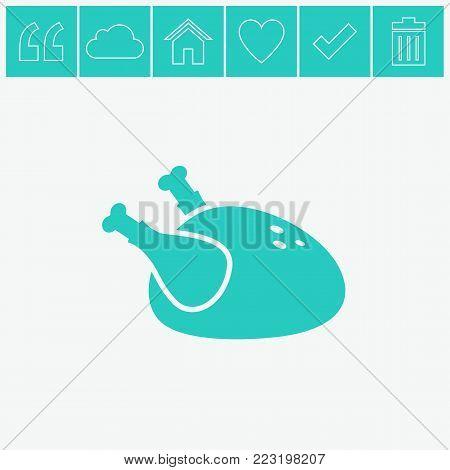Chicken vector icon. Hen bird meat icon.