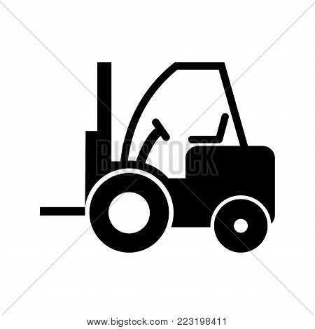 forklift isolated flat vector icon, forklift icon