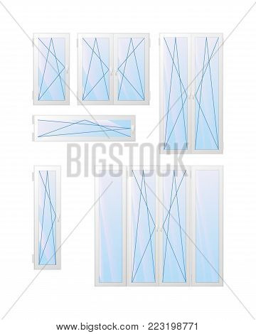 Window ans door types of opening. Tilt and turn. The interior of the apartment. Vector illustration.