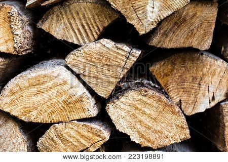 Logs. Folded For Winter. Background Of Firewood, Logs.