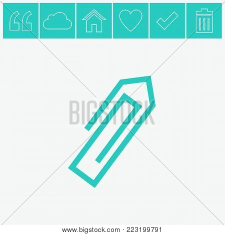 Paperclip vector flat icon on gray background.