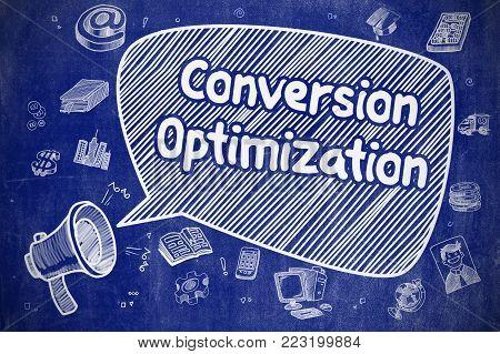 Shouting Megaphone with Phrase Conversion Optimization on Speech Bubble. Doodle Illustration. Business Concept.