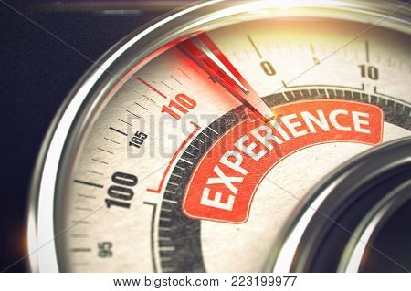 Experience Rate Conceptual Compass with Caption on the Red Label. Business Concept. Conceptual Illustration of a Gauge with Red Needle Pointing to Maximum of Experience. Horizontal image. 3D Render.