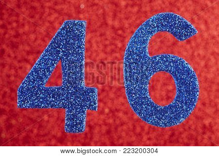 Number forty-six blue color over a red background. Anniversary. Horizontal