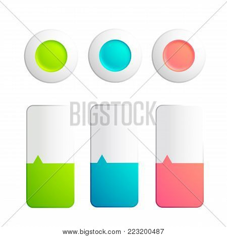 Set of buttons and strips collection with round elements and strips divided on two colors with small arrow on the white background vector illustration