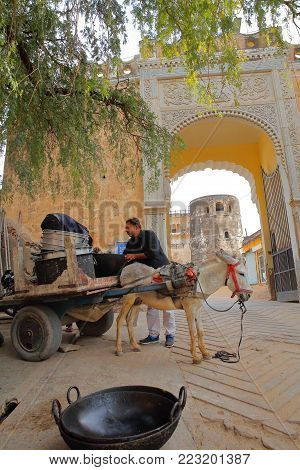 MANDAWA, RAJASTHAN, INDIA - DECEMBER 27, 2017: A man loading a carriage with a donkey in front of the entry gate to the Castle
