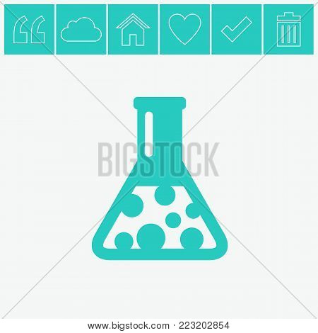 Flask vector flat icon on gray background.