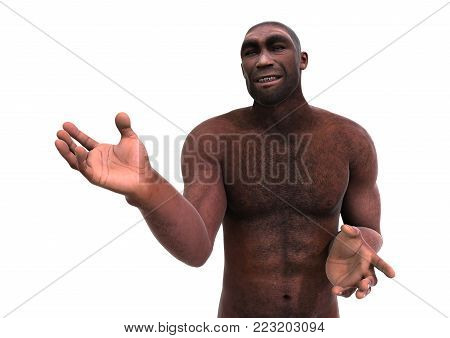 3D Rendering Homo Erectus On White