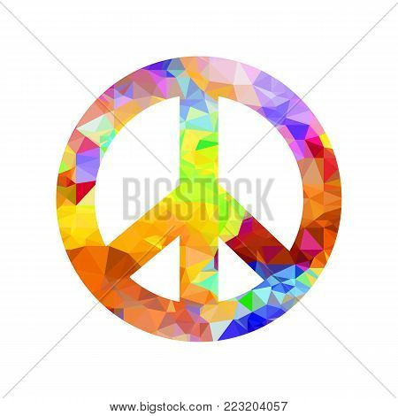 Colored Pacifist Sign Isolated on White Background