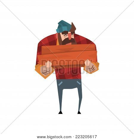 Strong lumberjack with beard in red plaid shirt, blue jeans and hat holding stack of firewood in hands. Cheerful woodcutter character in flat style. Forest worker concept. Isolated vector illustration