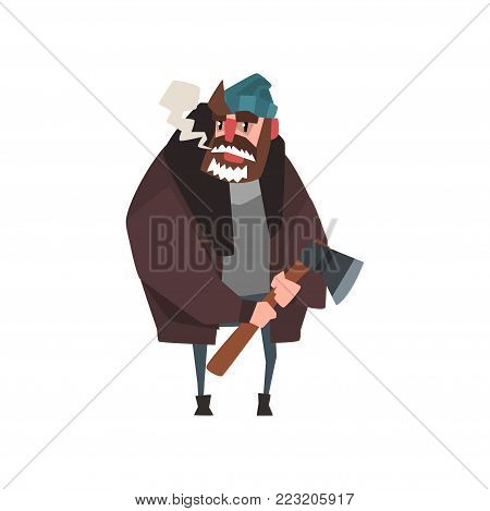 Woodcutter character standing with axe in his hand. Lumberjack in sweater, warm jacket, hat and jeans. Cartoon man character with frozen beard. Flat vector illustration isolated on white background.