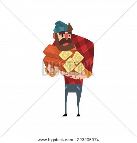 Cartoon man character holding stack of logs. Funny bearded woodcutter. Lumberjack dressed in red plaid shirt blue jeans and hat. Colorful vector illustration in flat style isolated on white background