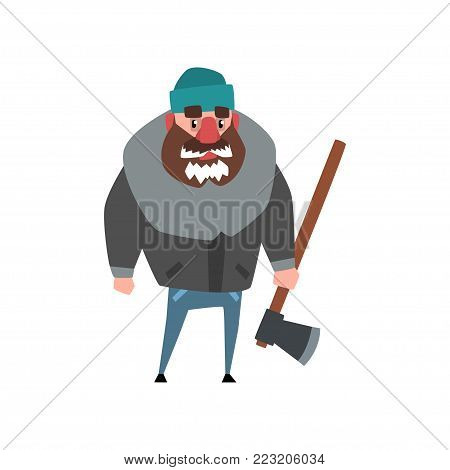 Colorful illustration of strong woodcutter standing with axe in hand. Lumberjack with frozen beard. Cartoon man character dressed in gray winter jacket, blue jeans and hat. Isolated flat vector design