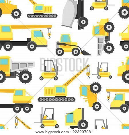 Cartoon Construction Machinery Seamless Pattern Background on a White Bulldozer, Excavator and Truck Concept Flat Style Design. Vector illustration