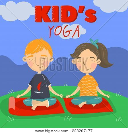 Cute boy and girl sitting on the floor in a lotus position and meditating, kids yoga vector illustration, cartoon style colorful design element for poster or banner.