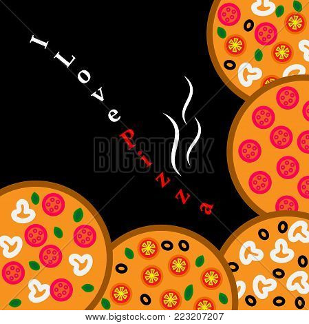 Vector logo illustration pizzeria menu,sliced triangle,whole hot pizza slice.Pizza on the wood board,the ingredients for the pizzeria on the chalkboard,Italian flag on background,pizzas slices in box.