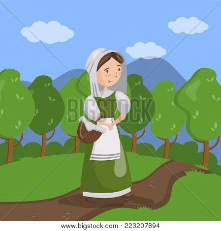Medieval maid on summer landscape background vector Illustration in cartoon style