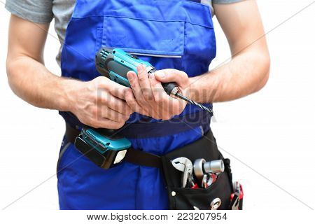 Isolated Craftsman Construction Worker Assembler Workmen - Friendly Worker In Working Clothes On Whi