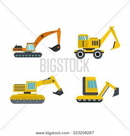 Excavator icon set. Flat set of excavator vector icons for web design isolated on white background