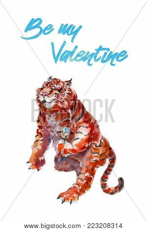 Tiger with flower, watercolor hand-drawn illustation, St. Valentine's day greeting card.