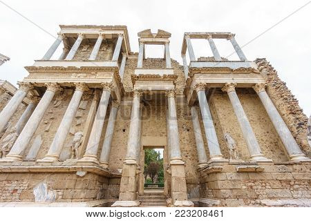 Front bottom perspective view of The Roman Theatre and proscenium in Merida, Extremadura, Spain