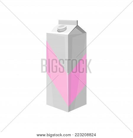 Milk carton box, dairy product cartoon vector Illustration on a white background