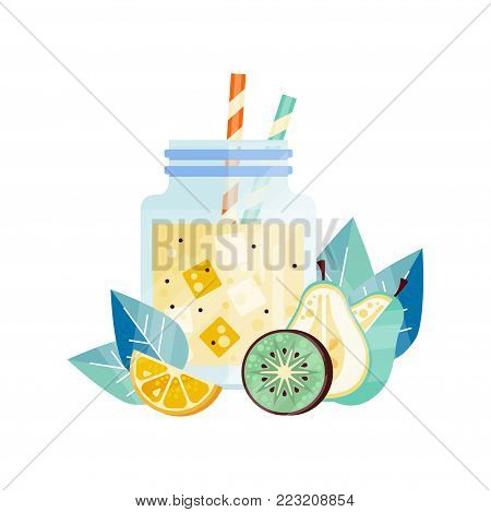 Fresh smoothie with lemon, kiwi and pear. Glass jar with ice cubes and drinking straws. Vegetarian cocktail. Healthy lifestyle or diet. Natural and tasty beverage. Isolated flat vector illustration.