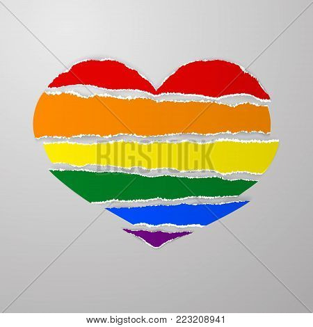 LGBT rainbow pride flag like torn paper stripes with ragged uneven ragged edges in shape broken heart vector on gray background. Template for postcards, posters, advertising, printing, web design. Vector Stock clip art.