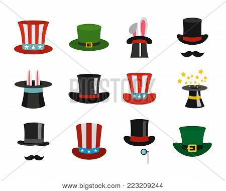 Top hat icon set. Flat set of top hat vector icons for web design isolated on white background