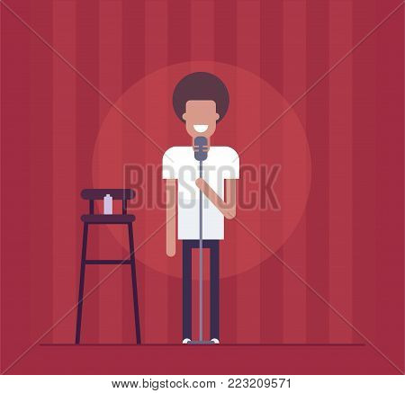 Man performing - modern flat design style isolated illustration on red curtain background. Smiling stand-up comedian acting before the audience. An image of a high chair, bottle, microphone