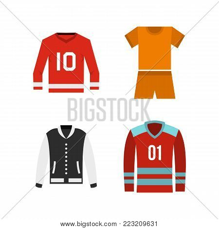 Sport clothes icon set. Flat set of sport clothes vector icons for web design isolated on white background