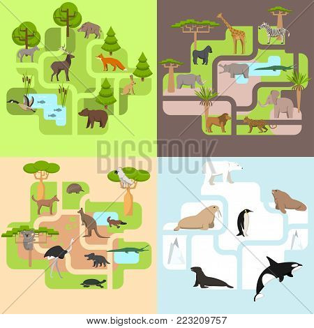 Animals of the world, a protected area, a hunting ground, a territory of the zoo