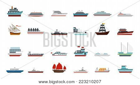 Ship icon set. Flat set of ship vector icons for web design isolated on white background