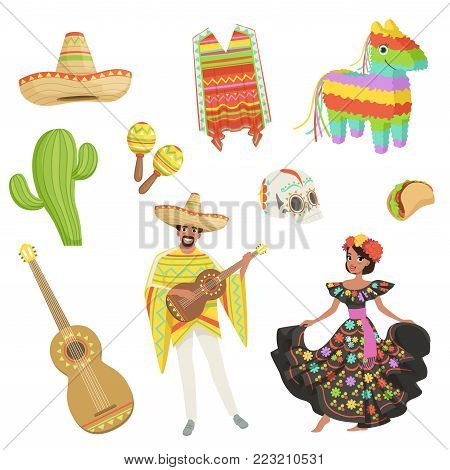 Set of cultural symbols Mexico. Sombrero, cactus, poncho, maracas, taco, pinata, guitar, skull. Cartoon hispanic man and woman in traditional costumes. Flat vector design isolated on white background.