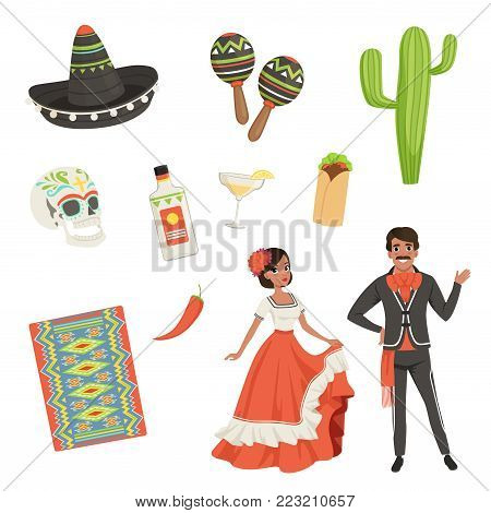 National cultural symbols of Mexico. Blanket with ethnic pattern, sombrero, cactus, skull, taco, tequila, maracas. Latin Americans. Woman and man in traditional clothes. Isolated flat vector set.