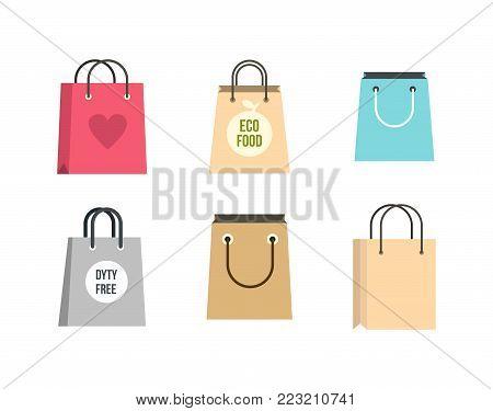 Shopping bag icon set. Flat set of shopping bag vector icons for web design isolated on white background