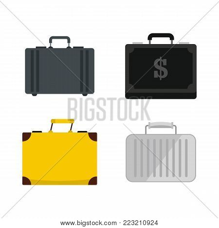 Business case icon set. Flat set of business case vector icons for web design isolated on white background