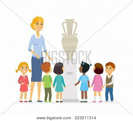 Children with teacher in museum - cartoon people characters isolated illustration on white background. Young smiling kindergarten teacher shows kids a specimen. Childhood development concept