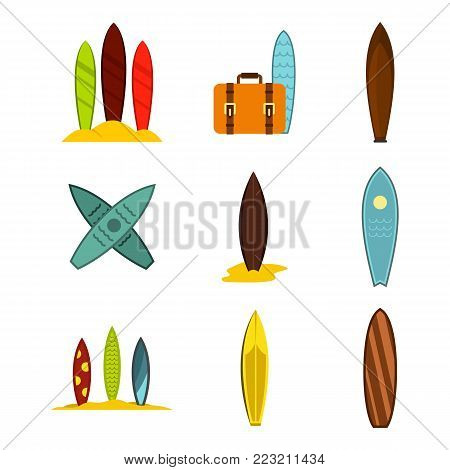 Surf board icon set. Flat set of surf board vector icons for web design isolated on white background