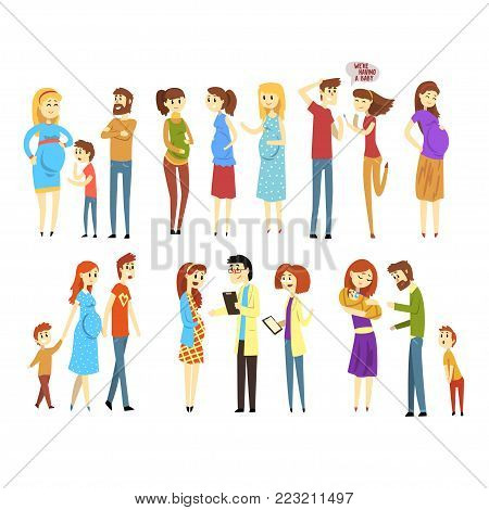 Set of young families. Cartoon people characters expecting baby born. Pregnant women. Girl at doctor s reception. Mother, father and child. Parenthood concept. Flat vector design isolated on white.