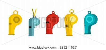 Whistle icon set. Flat set of whistle vector icons for web design isolated on white background