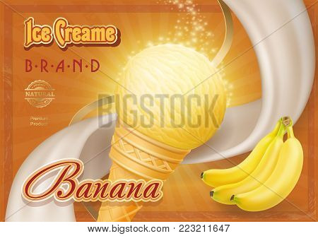 Sweet banana ice cream design ad, vector illustration.