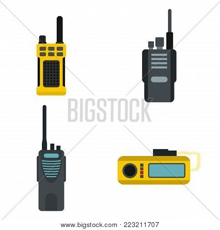 Portable radio icon set. Flat set of portable radio vector icons for web design isolated on white background